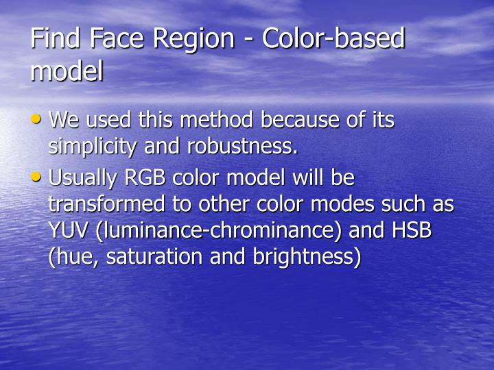 Find Face Region - Color-based model