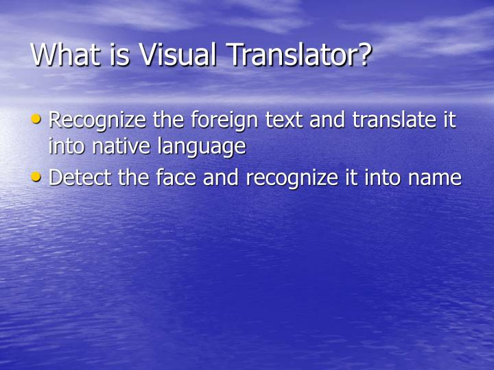 What is Visual Translator?
