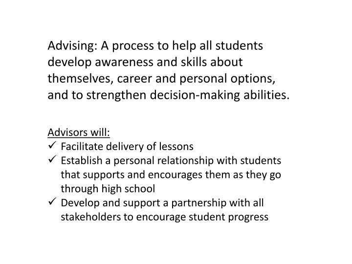 Advising: A process to help all students develop awareness and skills about themselves, career and p...