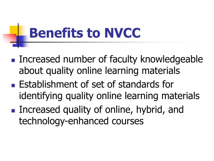 Benefits to NVCC