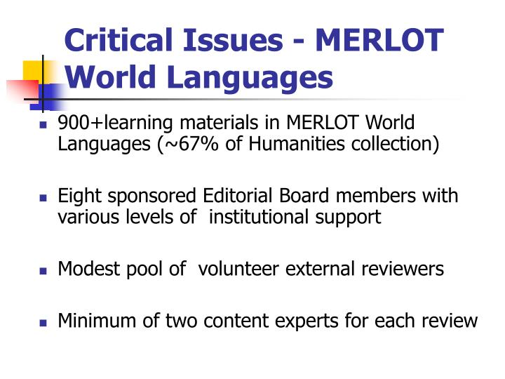 Critical Issues - MERLOT World Languages