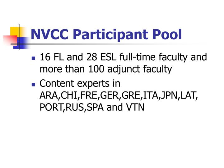 NVCC Participant Pool