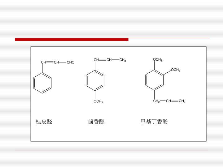 桂皮醛                  茴香醚                  甲基丁香酚