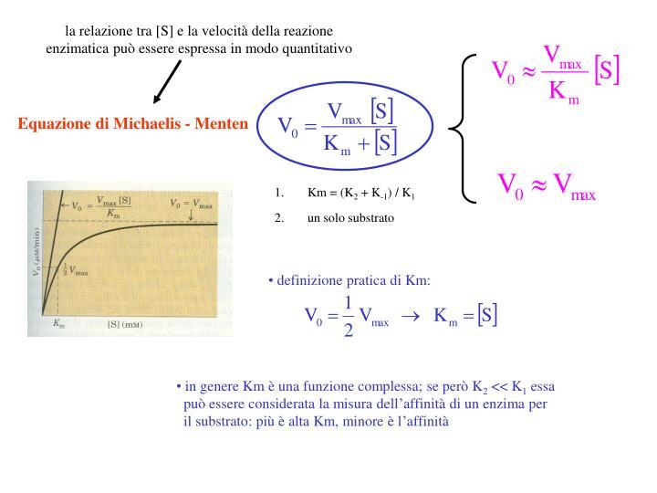la relazione tra [S] e la velocità della reazione