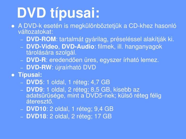 DVD típusai: