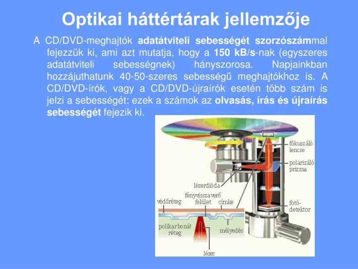 Optikai háttértárak jellemzője