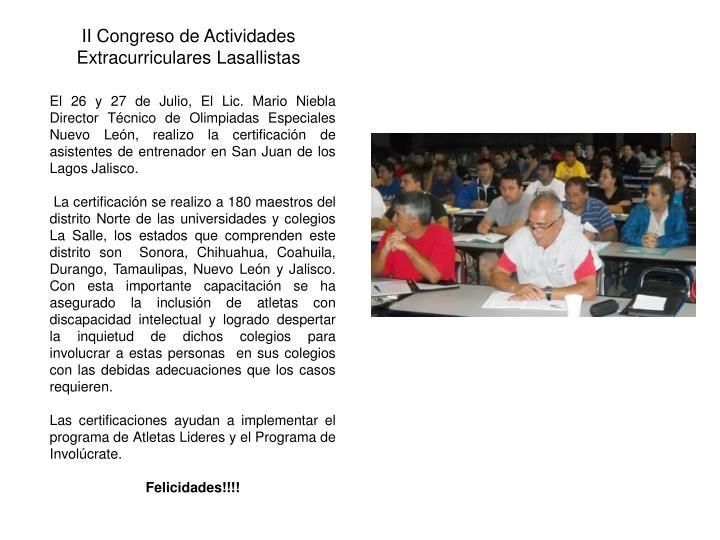 II Congreso de Actividades Extracurriculares Lasallistas