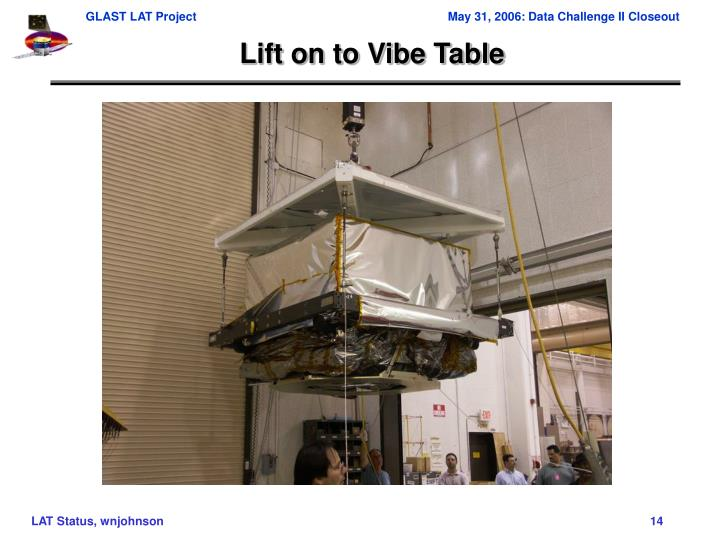 Lift on to Vibe Table