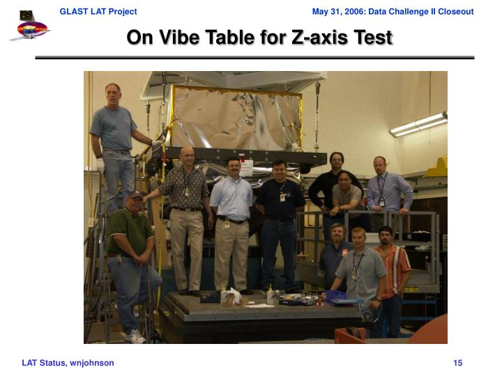 On Vibe Table for Z-axis Test
