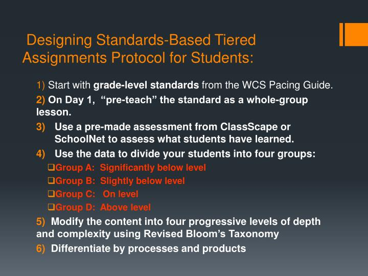 Designing Standards-Based Tiered Assignments Protocol for Students: