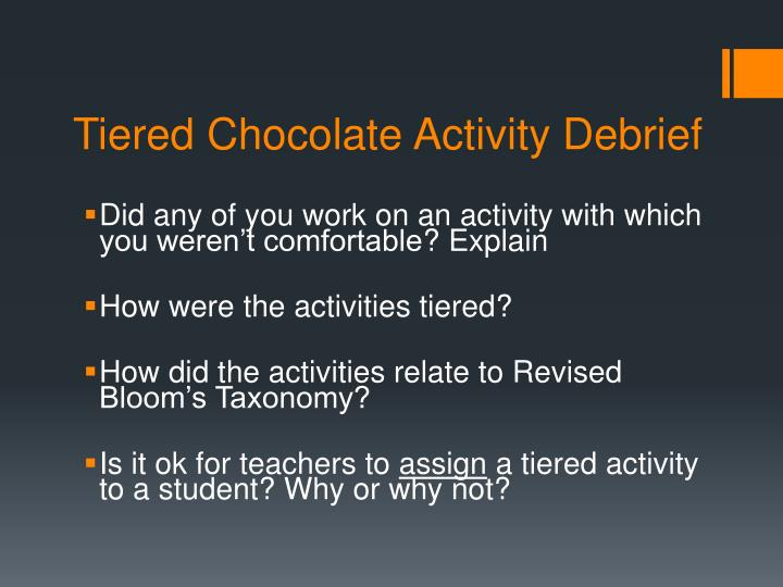 Tiered Chocolate Activity Debrief