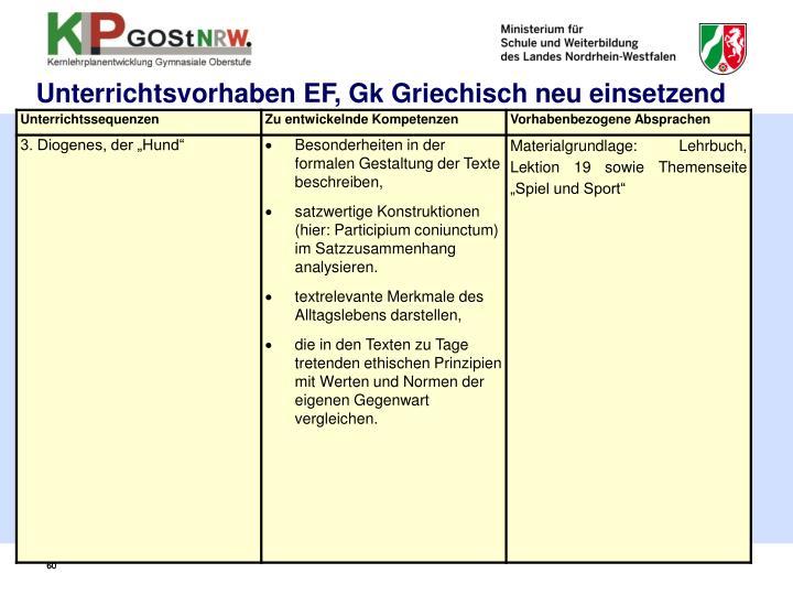 Unterrichtsvorhaben EF, Gk Griechisch neu einsetzend