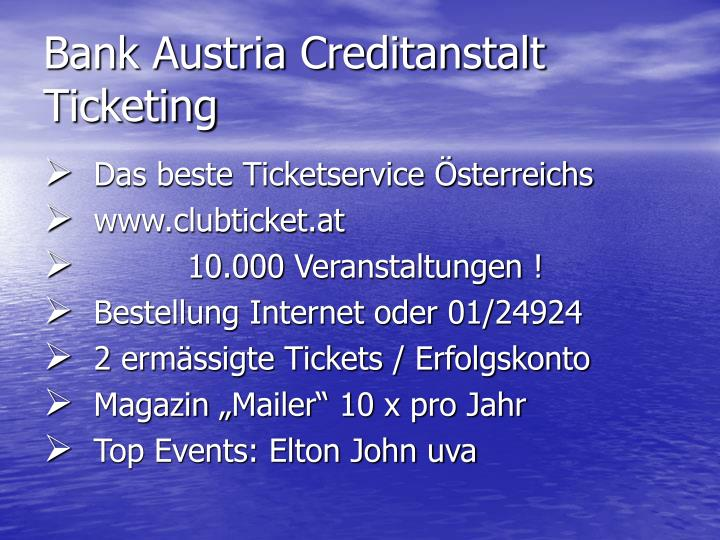 Bank Austria Creditanstalt Ticketing