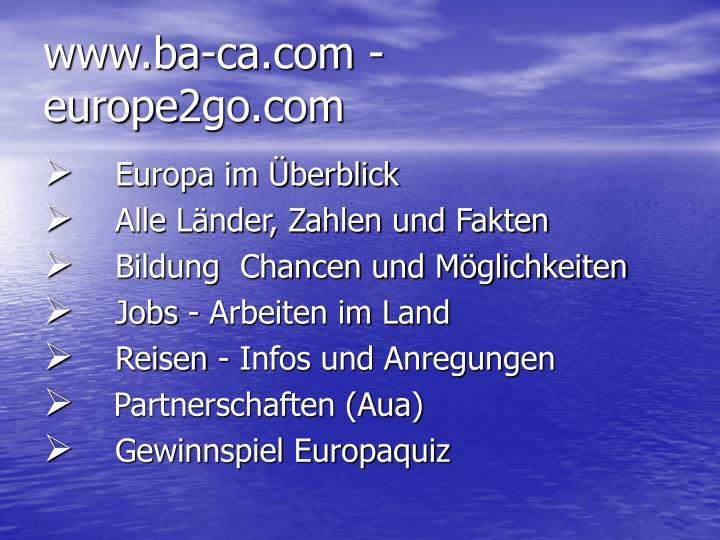 www.ba-ca.com - europe2go.com