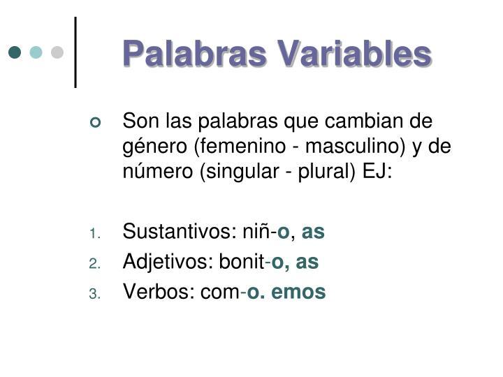 Palabras Variables