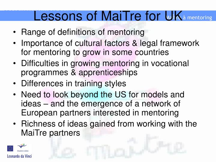 Lessons of maitre for uk