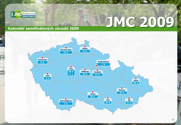 Kalendář semifinálových závodů 2009