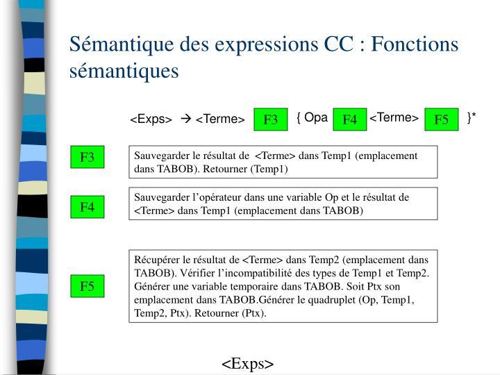 Sémantique des expressions CC : Fonctions sémantiques