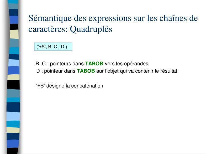 Sémantique des expressions sur les chaînes de caractères: Quadruplés