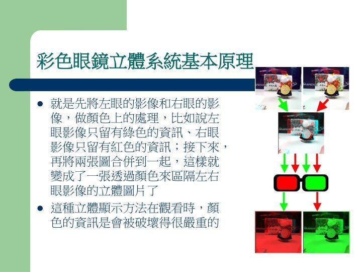 彩色眼鏡立體系統基本原理