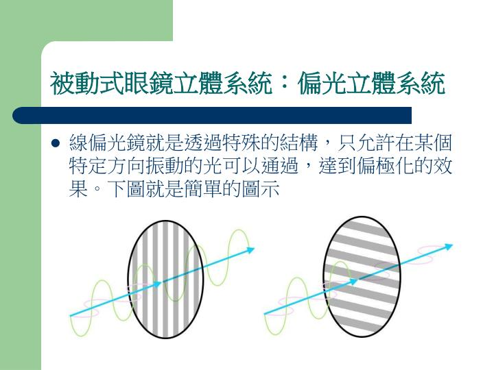 被動式眼鏡立體系統:偏光立體系統