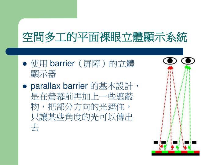 空間多工的平面裸眼立體顯示系統