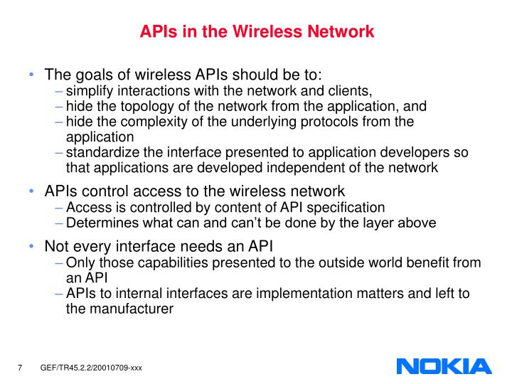 APIs in the Wireless Network
