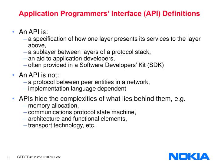 Application programmers interface api definitions