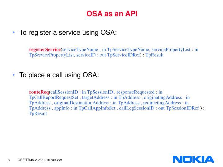 OSA as an API
