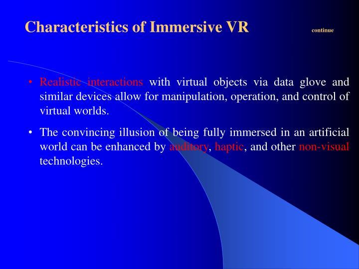Characteristics of Immersive VR