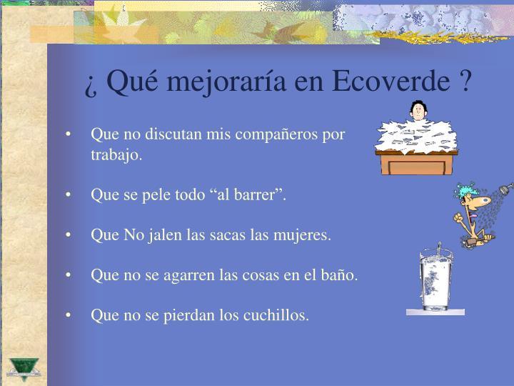 ¿ Qué mejoraría en Ecoverde ?