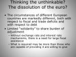 thinking the unthinkable the dissolution of the euro