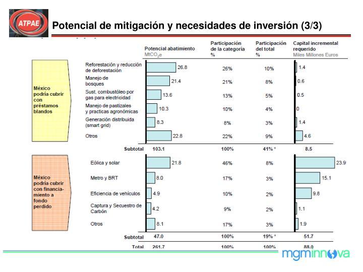 Potencial de mitigación y necesidades de inversión (3/3)