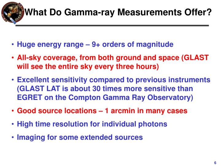 What Do Gamma-ray Measurements Offer?