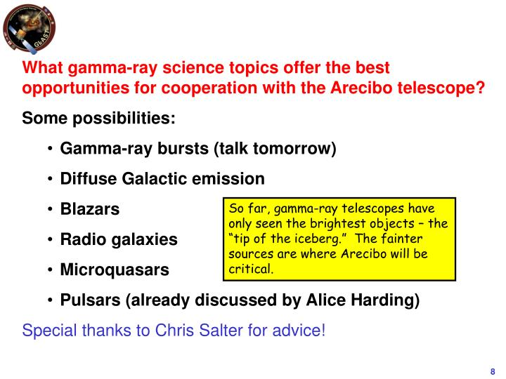 What gamma-ray science topics offer the best opportunities for cooperation with the Arecibo telescope?