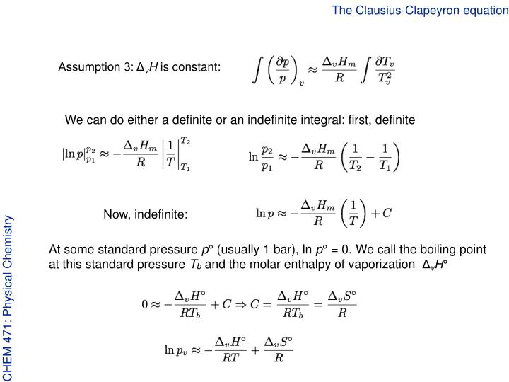 The clausius clapeyron equation