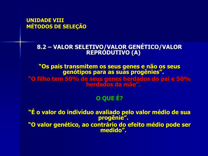 UNIDADE VIII