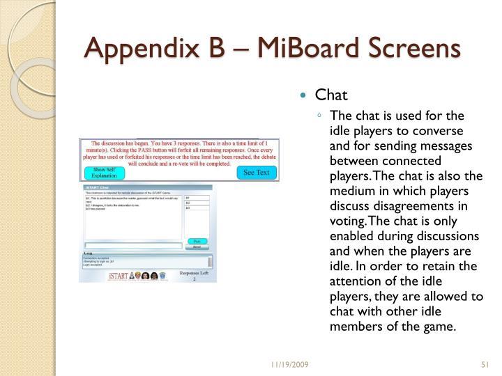 Appendix B –