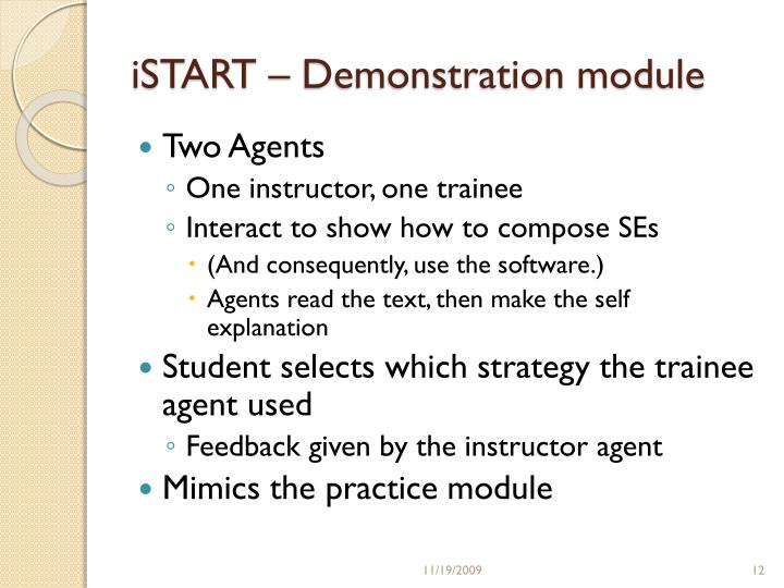 iSTART – Demonstration module