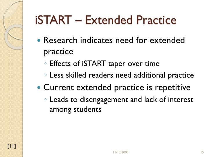 iSTART – Extended Practice