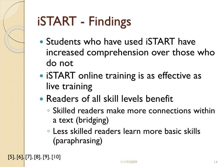 iSTART - Findings