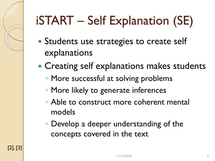 iSTART – Self Explanation (SE)