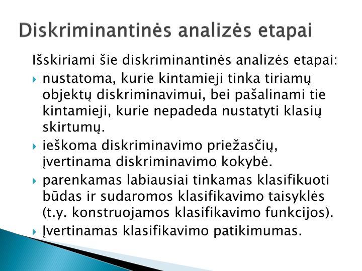 Diskriminantinės analizės etapai