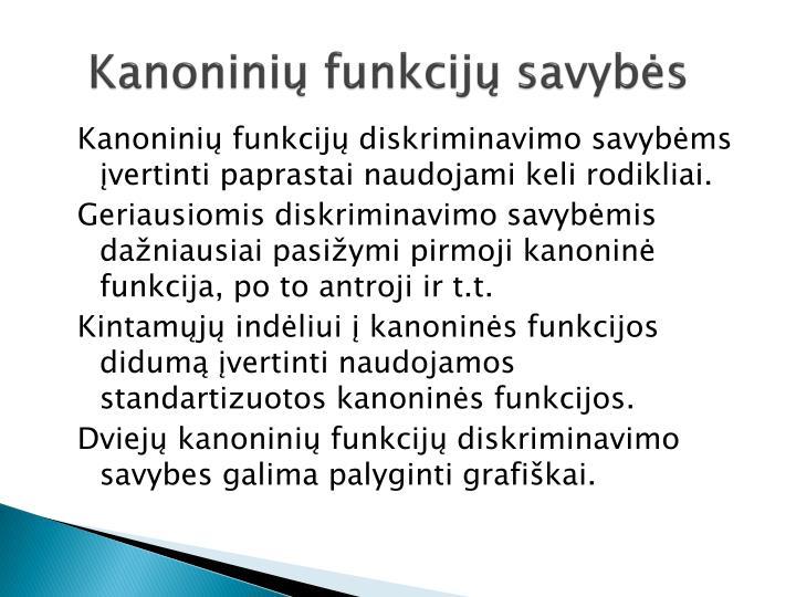 Kanoninių funkcijų savybės