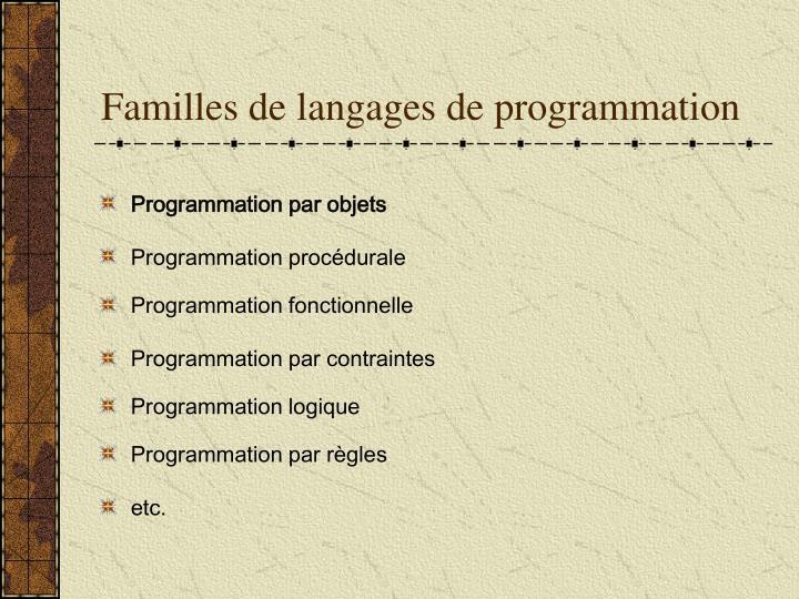 Familles de langages