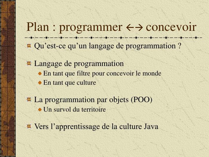 Plan : programmer