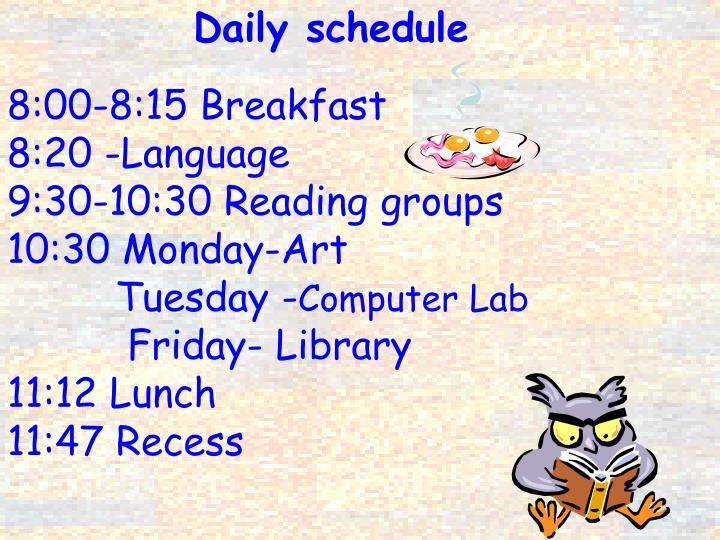 8:00-8:15 Breakfast