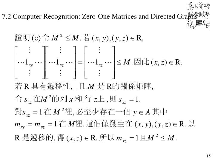 7.2 Computer Recognition: Zero-One Matrices and Directed Graphs