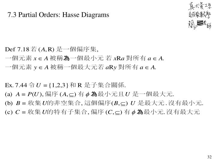 7.3 Partial Orders: Hasse Diagrams