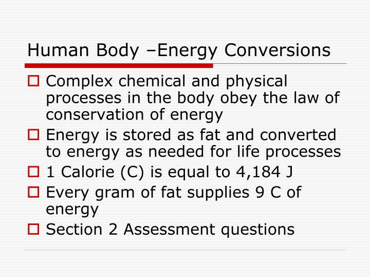 Human Body –Energy Conversions